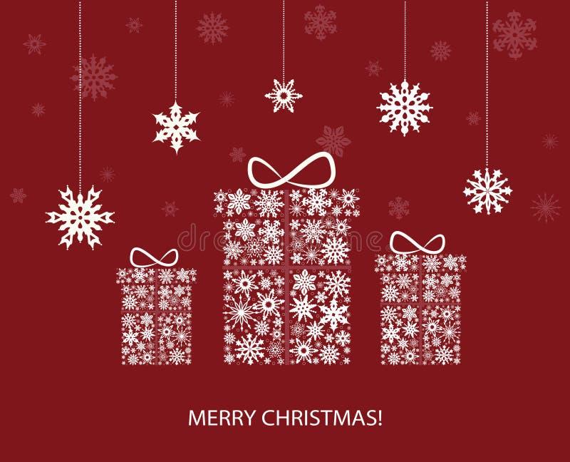 Decorazione di Natale con i contenitori ed i fiocchi di neve di regalo Vettore illustrazione di stock