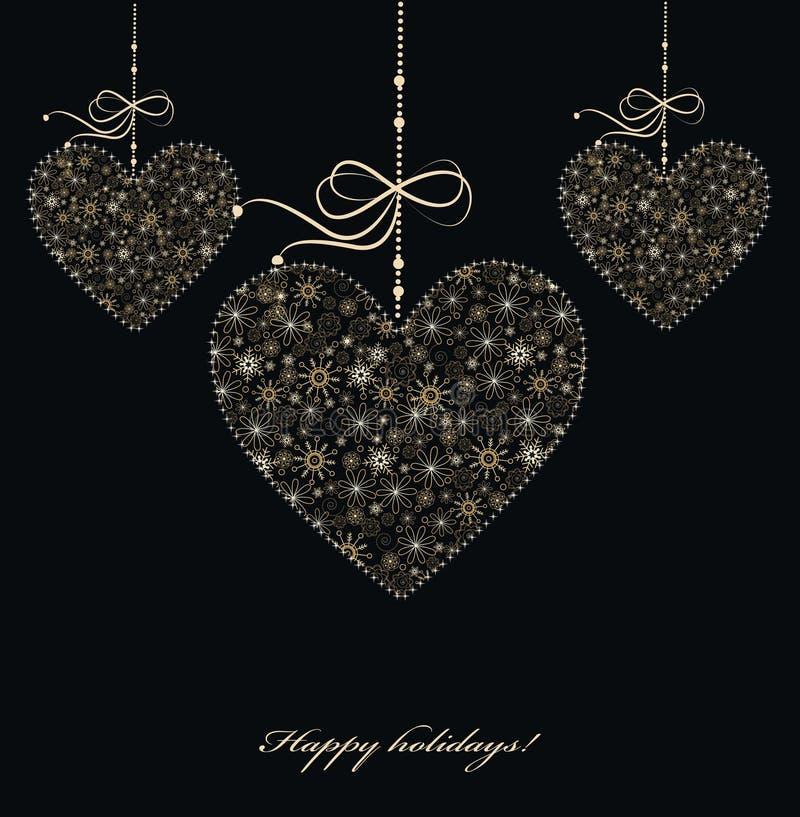 Decorazione di Natale con i cuori dorati illustrazione vettoriale