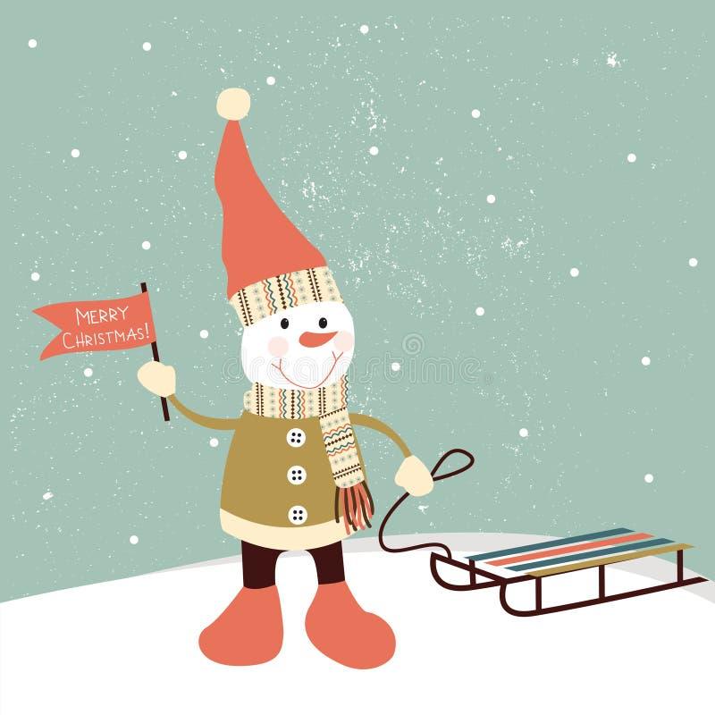 Decorazione di Natale con il pupazzo di neve.  royalty illustrazione gratis