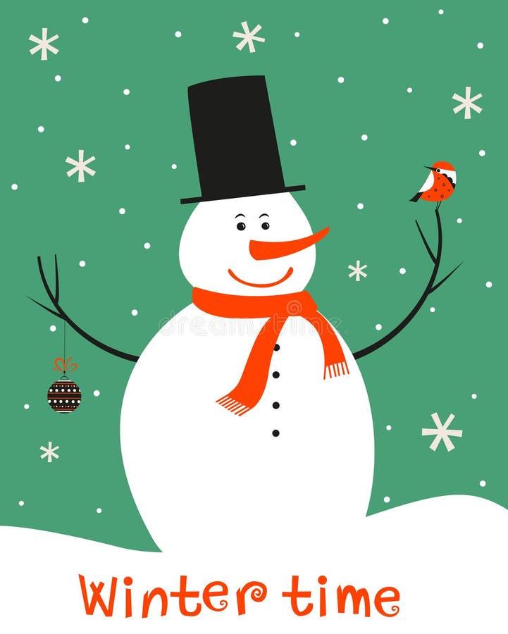 Decorazione di Natale con il pupazzo di neve e gli uccelli illustrazione vettoriale