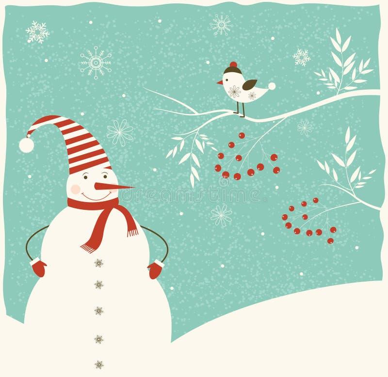 Decorazione di Natale con il pupazzo di neve e l'uccello. royalty illustrazione gratis