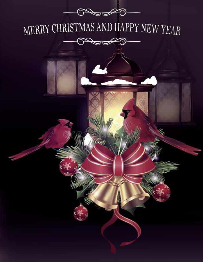 Decorazione di Natale con iluminazione pubblica illustrazione di stock