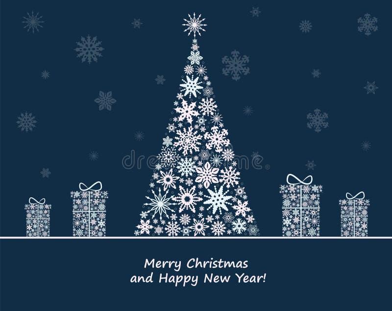 Decorazione di Natale con l'albero di abete ed i contenitori di regalo illustrazione di stock