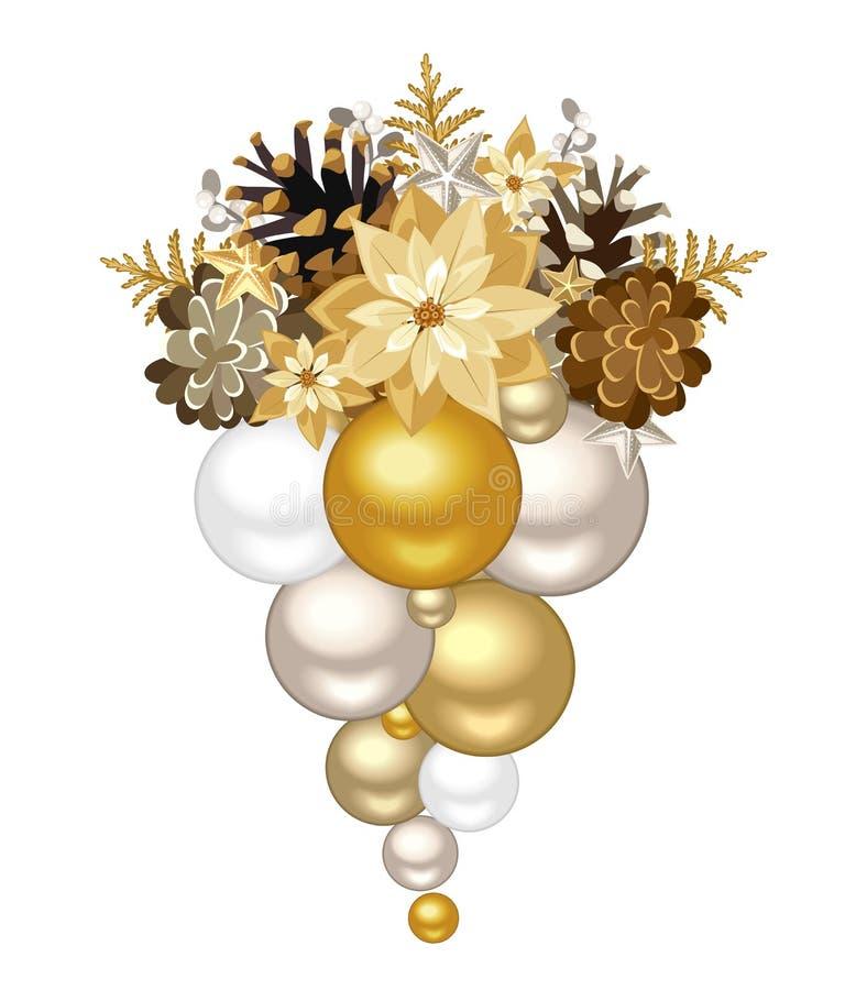 Decorazione di Natale con le palle dell'argento e dell'oro Illustrazione di vettore illustrazione vettoriale