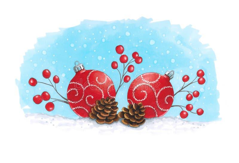 Decorazione di Natale degli indicatori di schizzo con i coni di abete Schizzo fatto illustrazione vettoriale