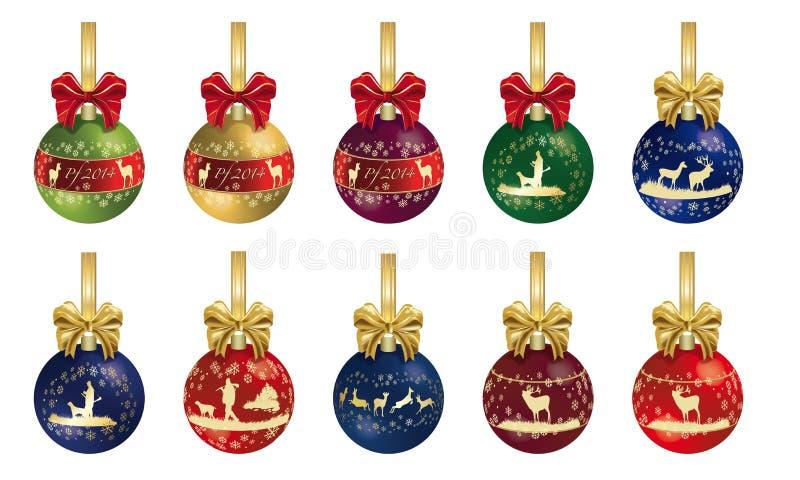 Decorazione di Natale di caccia con il nastro illustrazione di stock