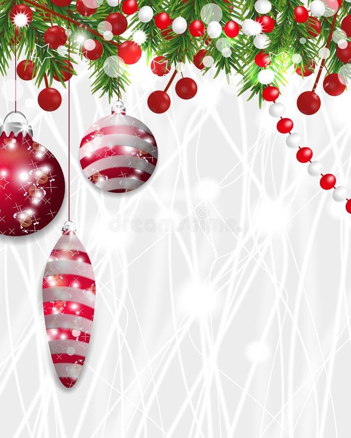 Decorazione di Natale fondo, del nuovo anno con i rami dell'abete, perle e bacca dell'agrifoglio e bagattelle rosse Vettore illustrazione vettoriale