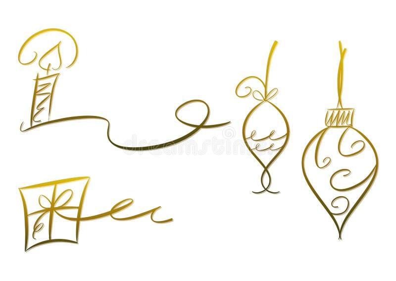 Decorazione di natale impostata (oro) royalty illustrazione gratis