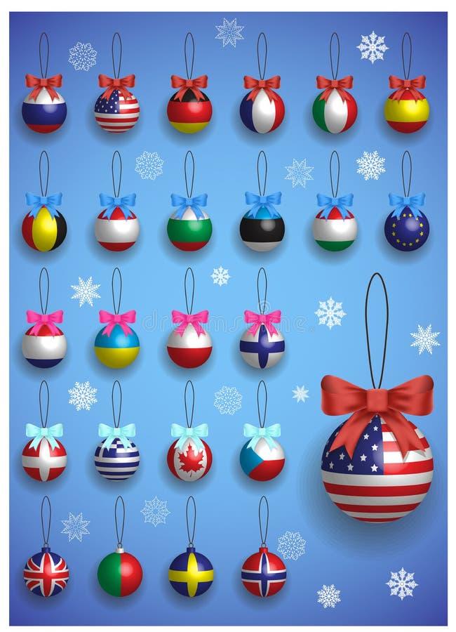 Decorazione di Natale messa con differenti bandiere internazionali Attaccatura variopinta realistica delle palle di Natale royalty illustrazione gratis
