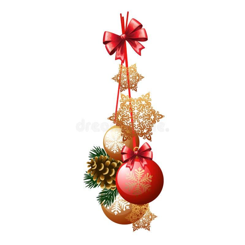 Decorazione di Natale sotto forma di pacco rosso e palle di vetro dorate e bagattelle isolate su fondo bianco Progettazione illustrazione vettoriale