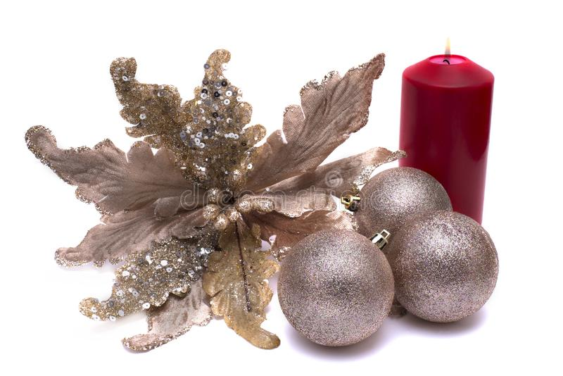 Decorazione di Natale su fondo bianco fotografie stock