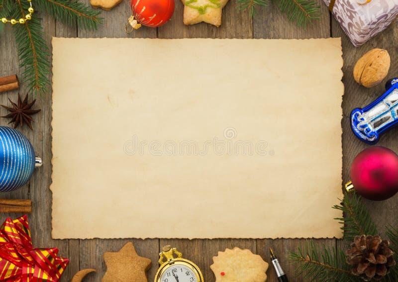 Decorazione di Natale su legno fotografia stock