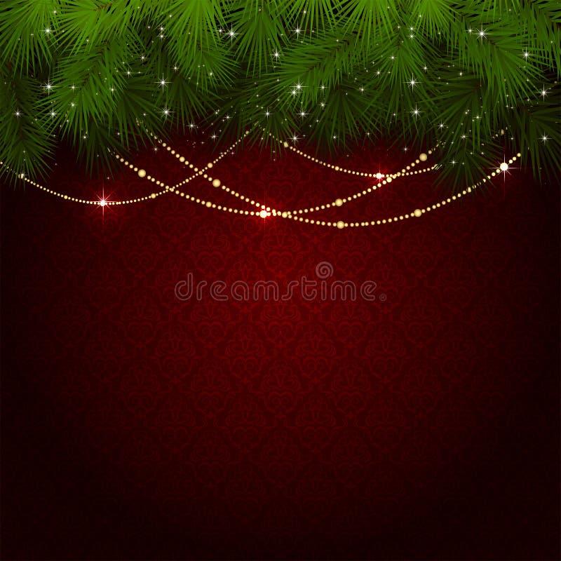 Decorazione di Natale sulla carta da parati rossa royalty illustrazione gratis