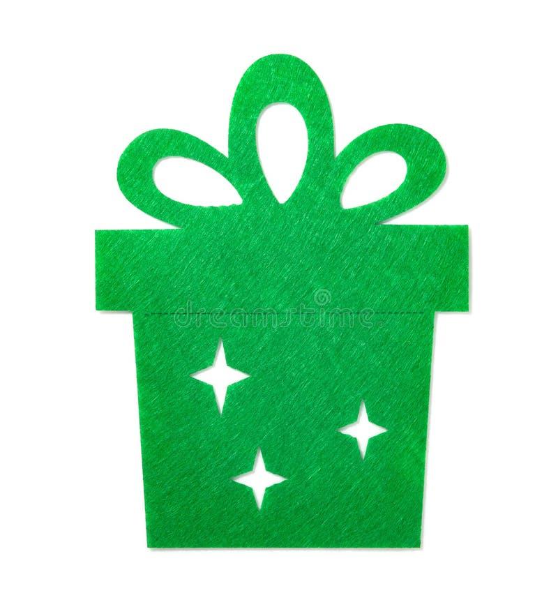 Decorazione di Natale di un contenitore di regalo piano verde immagini stock libere da diritti