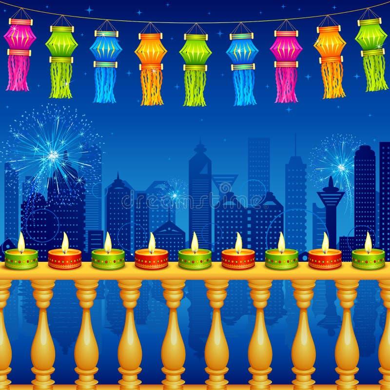 Decorazione di notte di Diwali illustrazione di stock