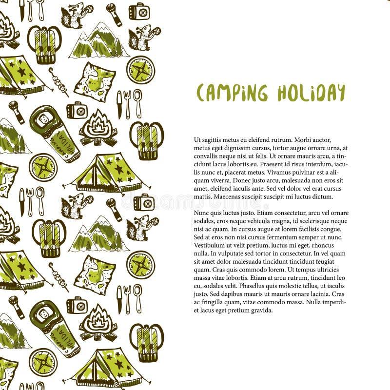 Download Decorazione Disegnata A Mano Con Gli Elementi Di Vacanza In Campeggio Fondo Di Vacanze Estive Modello Di Viaggio Di Vettore Illustrazione Vettoriale - Illustrazione di programma, festa: 56883428