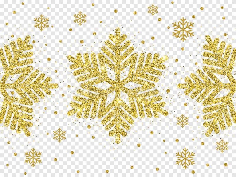 Decorazione dorata del fiocco di neve di Natale delle scintille brillanti di scintillio dell'oro su fondo trasparente bianco Sn b royalty illustrazione gratis