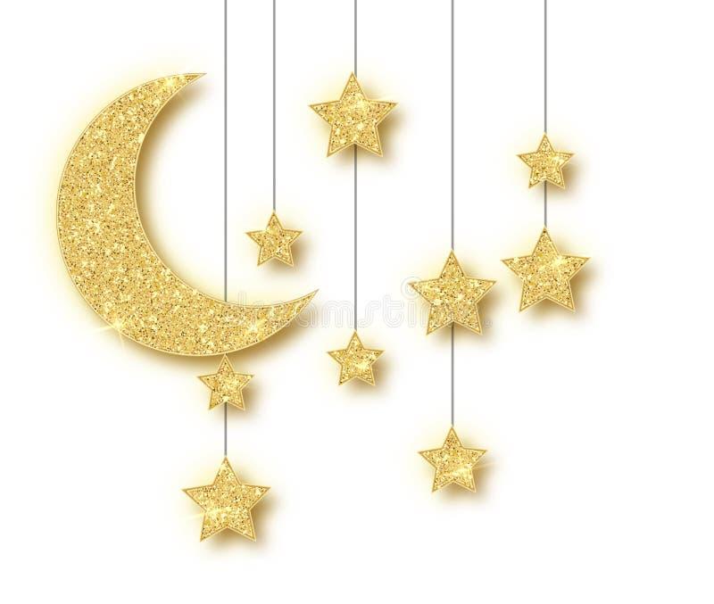 Decorazione dorata del Ramadan isolata su fondo bianco Stelle d'attaccatura di scintillio di Crescent Islamic Ramadan Kareem Desi royalty illustrazione gratis