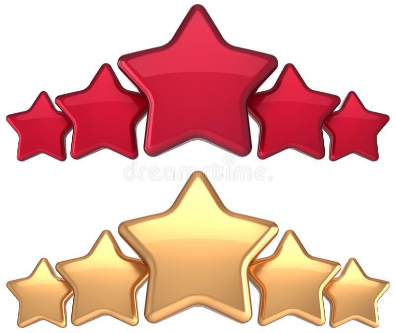 Decorazione dorata rossa di successo del premio dell'oro di servizio di cinque stelle illustrazione vettoriale