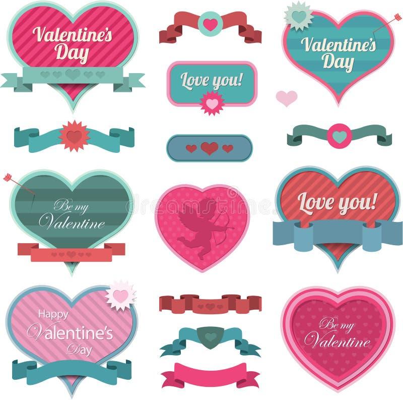 Decorazione e nastri a forma di del cuore del biglietto di S. Valentino illustrazione vettoriale