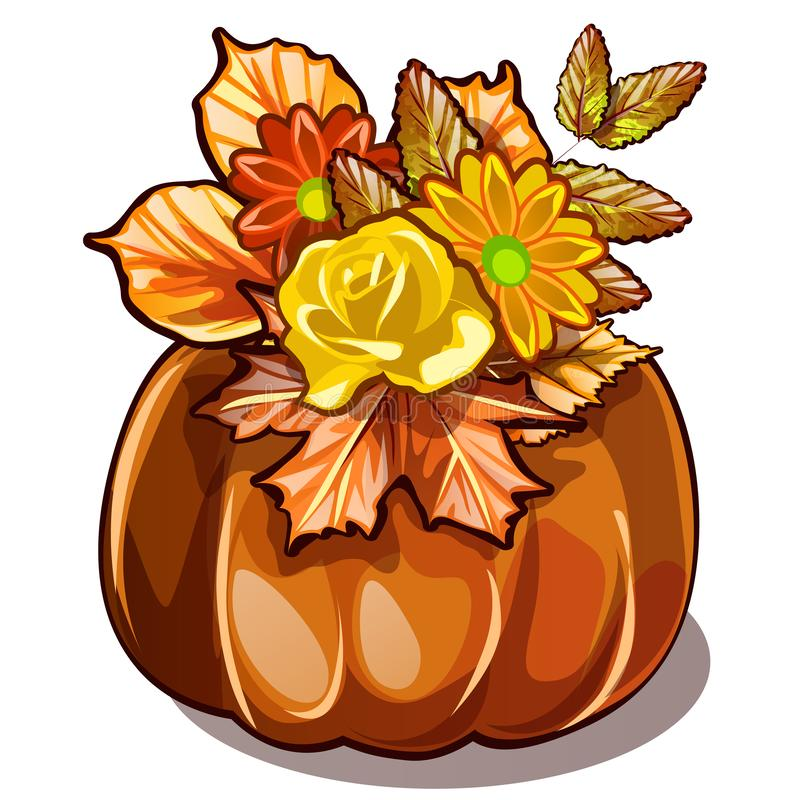 Decorazione fatta a mano di autunno dei fiori secchi, delle foglie ingiallite della castagna e dell'acero in vaso naturale della  illustrazione di stock