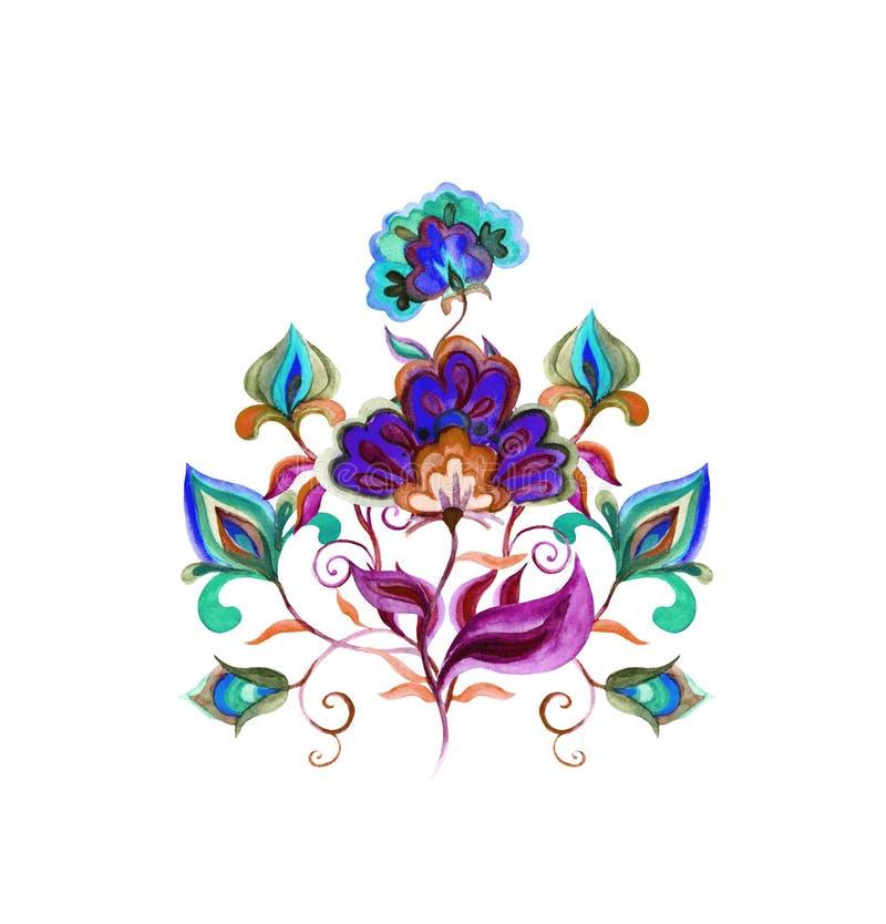 - Decorazione floreale europea - l'arte di piega complessa orientale fiorisce watercolor illustrazione di stock