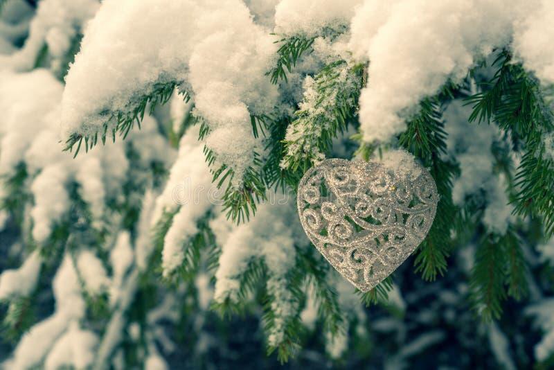 Decorazione a forma di del cuore che appende sull'albero di abete fotografie stock