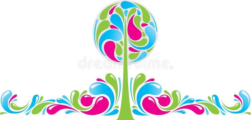 Decorazione Funky con l'albero illustrazione vettoriale