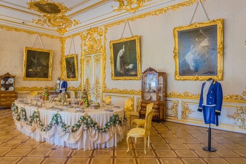 Decorazione interna Catherine Palace, Tsarskoye Selo, Russia in Tsarskoe Selo il giardino di Alexander immagini stock libere da diritti