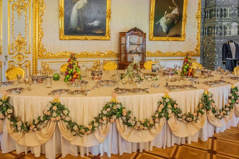Decorazione interna Catherine Palace, Tsarskoye Selo, Russia in Tsarskoe Selo il giardino di Alexander fotografia stock libera da diritti