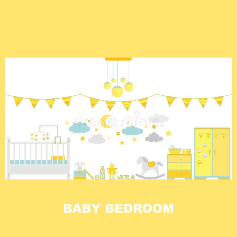 Decorazione interna della camera da letto del bambino royalty illustrazione gratis