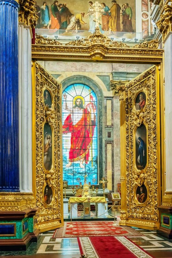 Decorazione interna della cattedrale della st Isaac, St Petersburg, Russia immagini stock