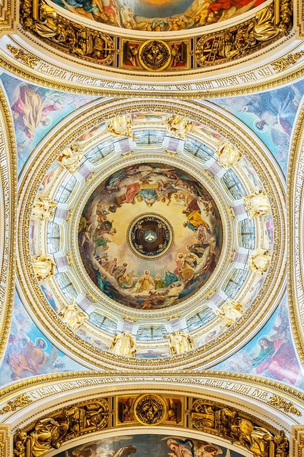 Decorazione interna della cattedrale della st Isaac, St Petersburg, Russia immagine stock libera da diritti