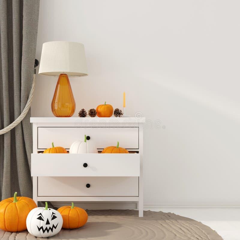 Decorazione interna per Halloween con l'apprettatrice bianca royalty illustrazione gratis