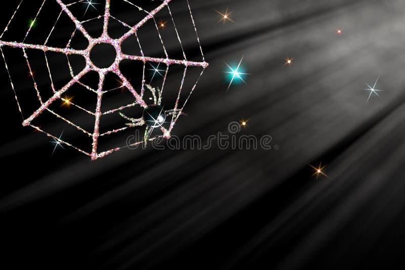 Decorazione magica del ragno di Natale Web ghiacciato in moonli scintillante fotografia stock libera da diritti