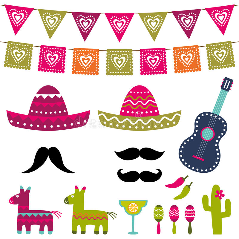 Decorazione messicana del partito ed insieme di vettore dei puntelli della cabina della foto illustrazione vettoriale