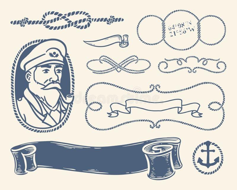 Decorazione nautica messa sopra fondo bianco royalty illustrazione gratis