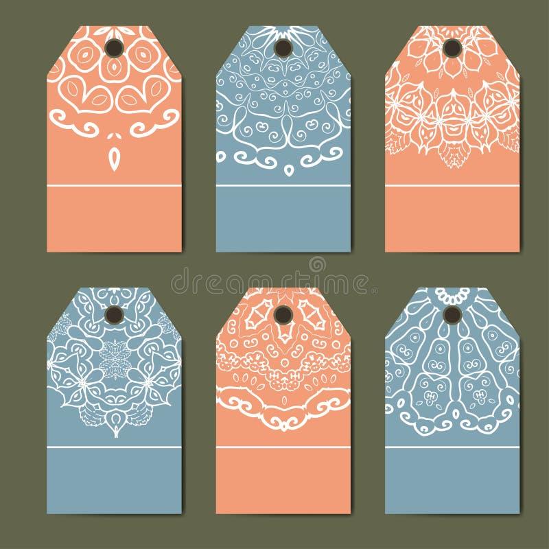 Decorazione orientale con i monogrammi Insieme dell'annata delle etichette ornamentali Etichette del modello per le carte illustrazione di stock