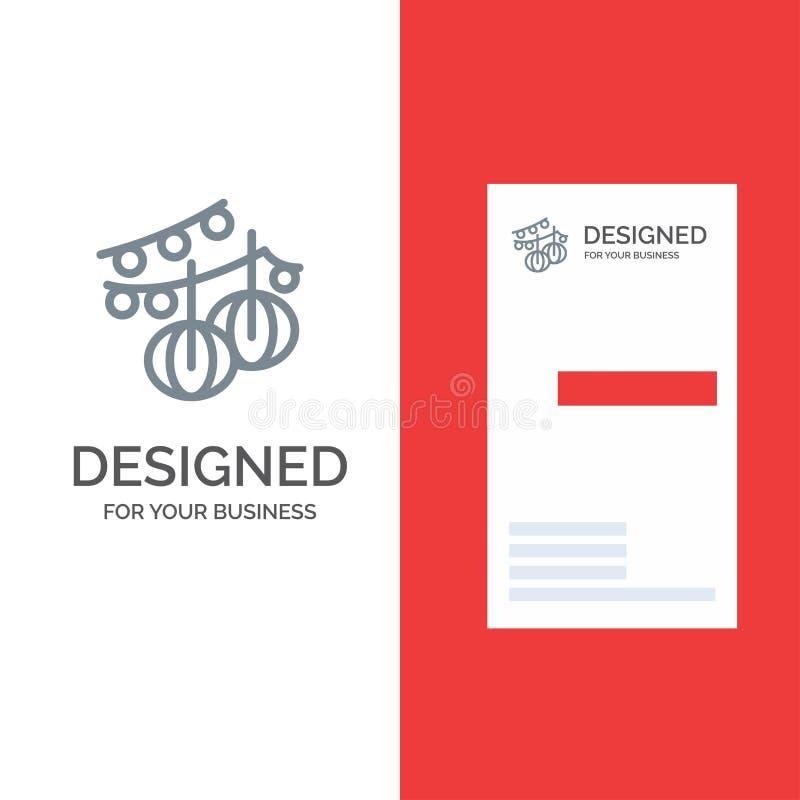 Decorazione, palle, appendere, lanterna Grey Logo Design e modello del biglietto da visita illustrazione vettoriale