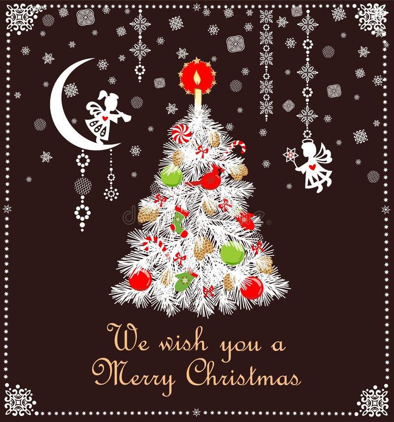 Decorazione puerile di Natale di taglio di carta con l'albero bianco con i giocattoli verdi rossi e candela dorata, fiocchi di ne illustrazione vettoriale