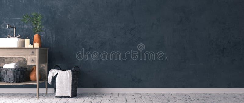 Decorazione semplice rustica dell'interno del bagno illustrazione di stock