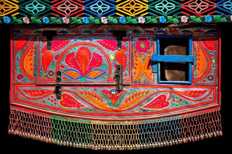 Decorazione su un camion pakistano immagini stock