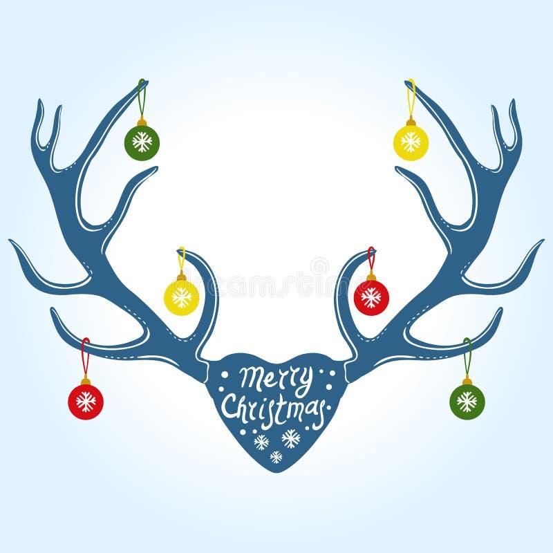 Decorazione sui corni della renna, illustrazione di Natale di vettore illustrazione di stock