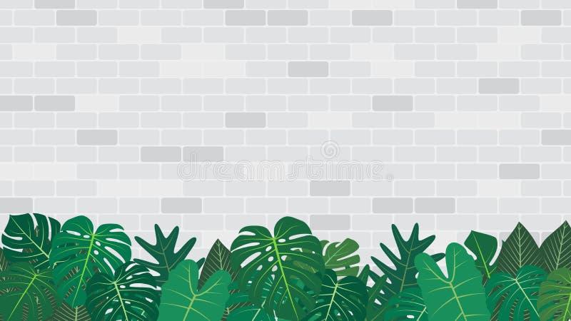 Decorazione tropicale delle foglie sul fondo bianco del muro di mattoni royalty illustrazione gratis