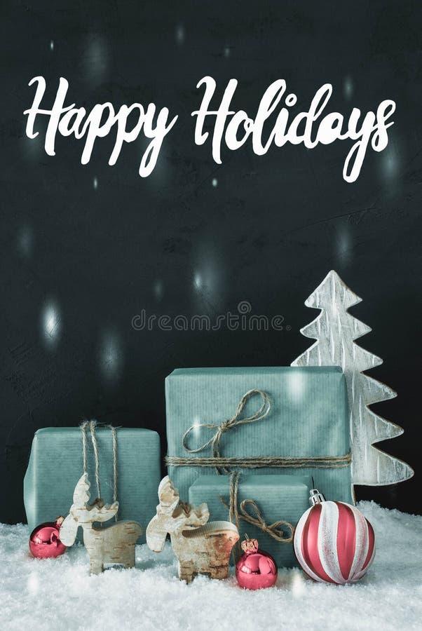 Decorazione verticale, feste felici di calligrafia, Frosty Look fotografia stock libera da diritti