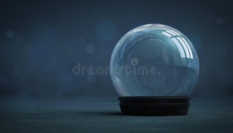 Decorazione vuota della palla di neve su fondo scuro illustrazione di stock