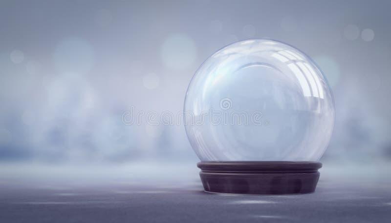 Decorazione vuota della palla di neve sul fondo luminoso del bokeh illustrazione vettoriale