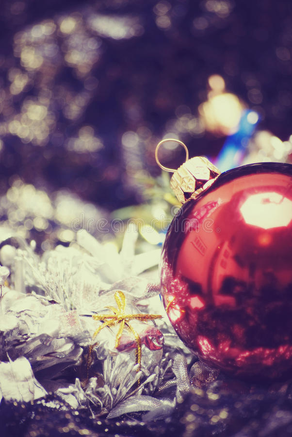 Decorazioni anno di nuovo e di natale fotografia stock libera da diritti