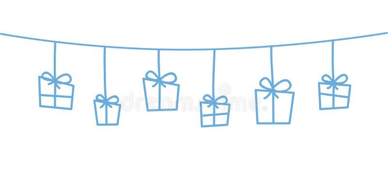 Decorazioni blu di natale che appendono fondo bianco illustrazione di stock