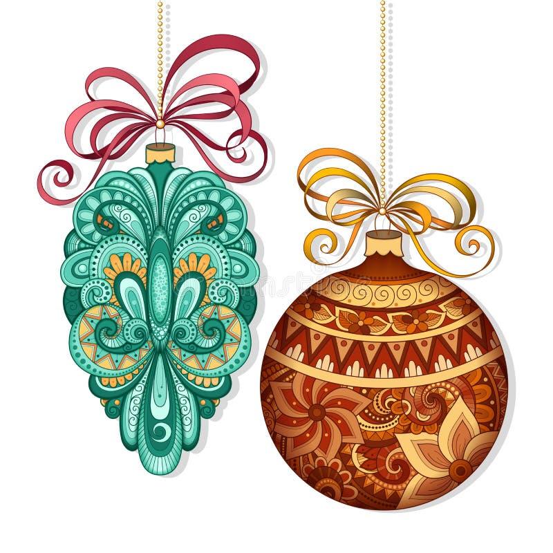Decorazioni colorate decorate di Natale di vettore illustrazione di stock